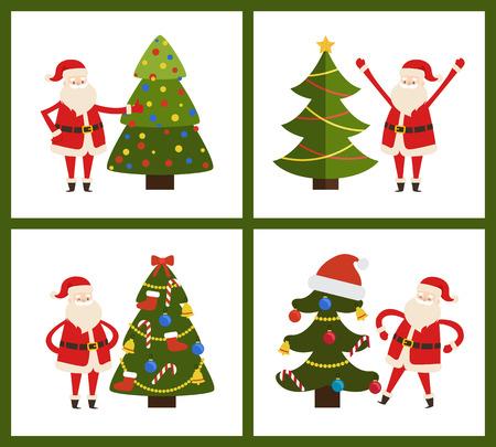 산타 클로스와 크리스마스 트리 벡터 일러스트 레이션 일러스트