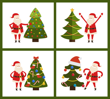 Santa Claus and Christmas Tree Vector Illustration Иллюстрация