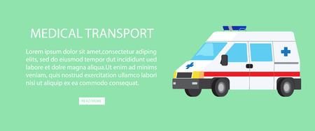 Medical Transport Isolated Illustration with Text 向量圖像