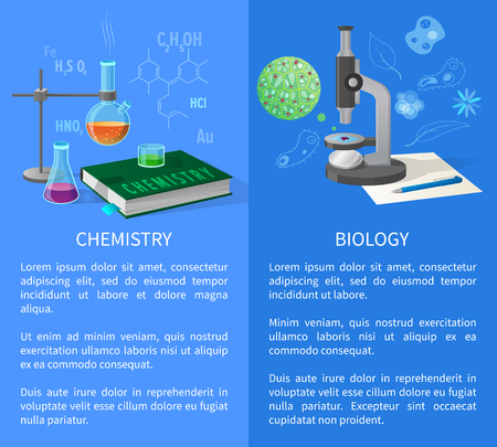 Chemistry and Biology Vector Banners with Flasks Illusztráció