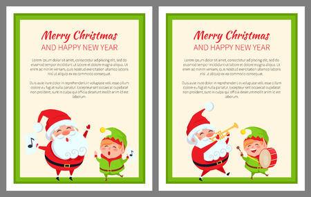 Merry Christmas Happy New Year Two Bright Posters