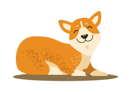 Cute Smiling Corgi Icon Vector Illustration