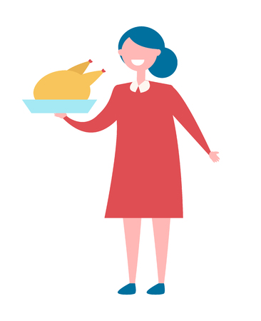 Girl with Turkey in Bow Icon Vector Illustration