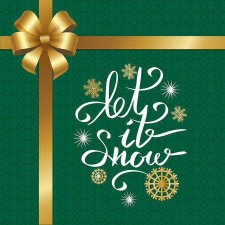 Let Snow Inscription on Snowflake on Green Texture Ilustrace