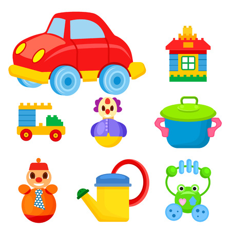 Childrens Colorful Toys Isolated Illustrations Set Foto de archivo - 92175925