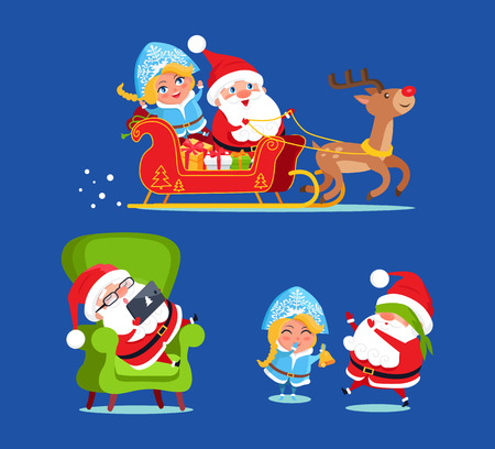 Santa and Snow Maiden Icons Vector Illustration