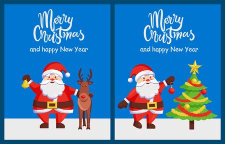 Merry Xmas Happy New Year Posters Santa Deer Tree