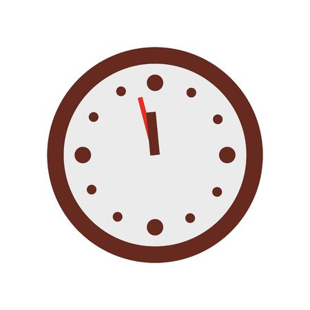 Christmas Clock Show Few Minutes to Twelve Vector Illustration