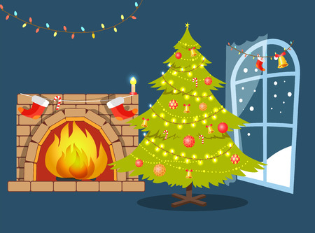 Christmas Tree and Fireplace Vector Illustration