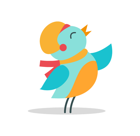 Bird with Hat and Scarf Vector Illustration Icon Иллюстрация