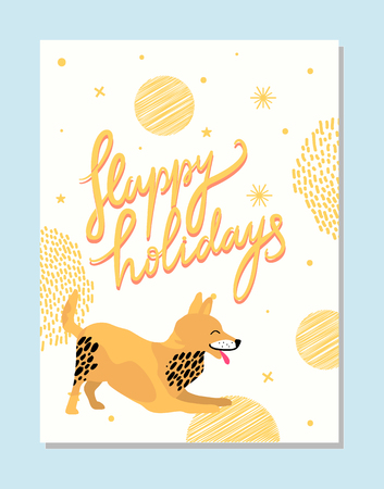 Happy Holidays Poster with Playful Fox Terrier 向量圖像