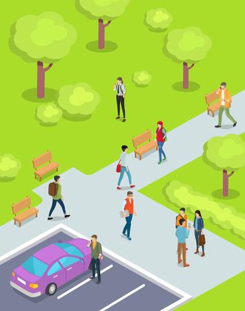 Teenagers Walking in Park Cartoon Illustration