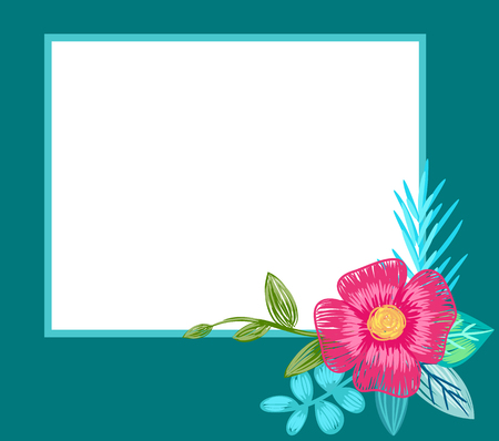 Photo Frame Design with Hand Drawn Pink Flower