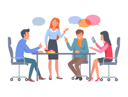 Business Team Discuss Work at Table Illustration
