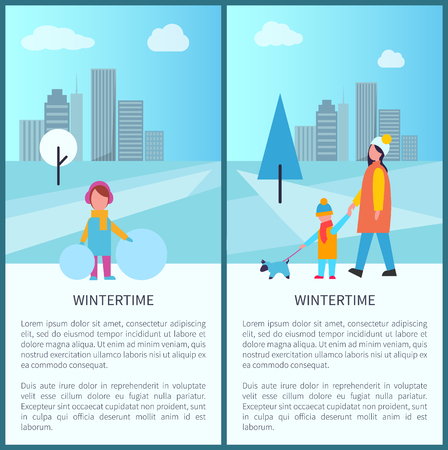 Wintertime park activities, family walking pet and kid making a snowman in a city park. Vector illustration with people on snowy urban background posters