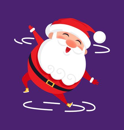 Santa modern dancer cute cartoon character isolated on purple background.