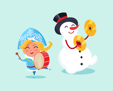 Snow maiden play on drums and snowman on cymbals vector illustration cartoon characters isolated on blue background. Ilustração