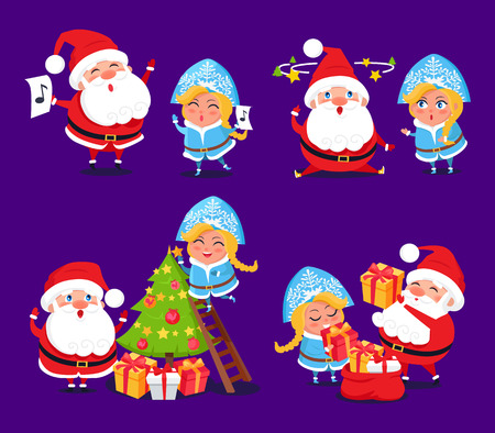 Santa Claus and Snow Maiden preparing for holidays set of icons on purple background. Vector illustration with winter symbols decorating Christmas tree Illustration