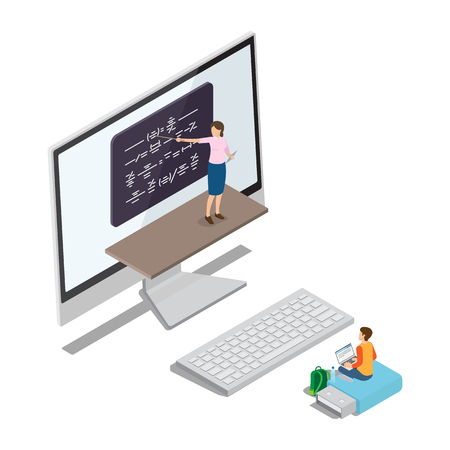 Qualitative online education abstract vector illustration. Woman explains material at black board from monitor and boy sits on flashcard and listen. Illusztráció