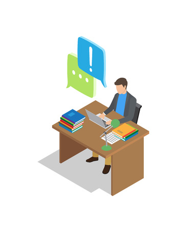 Male character sits at wooden table with books and lamp, and talks in chat isolated cartoon vector illustration on white background. Illustration