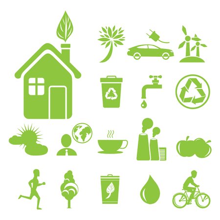 Green ecology symbols vector illustrations. Big house with leaf in chimney icon, recycling agitation, water saving and anti-pollution.