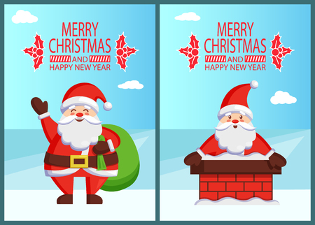 Merry Christmas Happy New Year poster inscription with mistletoe Santa and bag with gifts Claus in brick chimney. Vector St. Nicholas holding huge sack