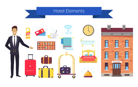 Travel Elements Icons and Title Illustration.