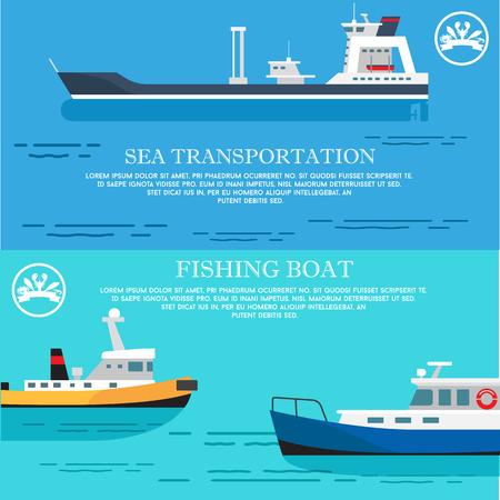 Poster di trasporto marittimo e pescherecci. Archivio Fotografico - 92331301