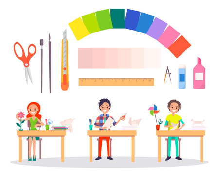 Origami concept banner with man sitting at table and making handmade swan and dog, woman doing flower working above vector illustrations