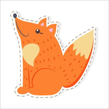 Cute funny red, bushy-tailed fox vector flat cartoon sticker or icon outlined with dotted line isolated on white. Wild predatory animal illustration for game counters, price tags