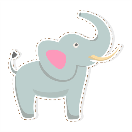 Cute funny african elephant with tusks and raised trunk vector flat cartoon sticker or icon outlined with dotted line isolated on white. Wild animal illustration for game counters, price tags Illusztráció