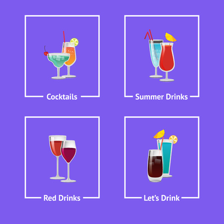 Cocktails and summer drinks icons isolated on purple background. Vector illustration with alcoholic beverages in white frames with decorative tubes