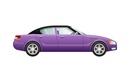 Transport. Picture of isolated violet automobile. Classical mean of transportation with shifted black roof. Contemporary four-wheeled automobile in cartoon style. Four doors. Flat design. Vector Illusztráció