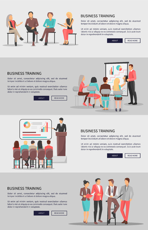 Business training vector web posters set with coworkers sitting on chairs, people at conference discussing issues near blackboard or standing nearby Ilustração