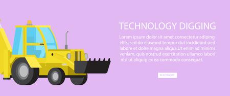 Industrial bulldozer banner design. Illustration