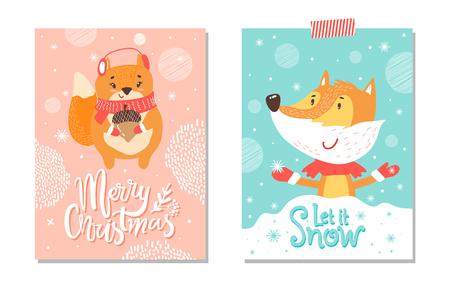 雪と陽気なクリスマス、ベクトルイラストで孤立した大きなドングリとキツネを捕まえる雪片を持つリスを表すカードのセットをしましょう