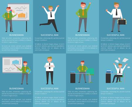성공과 비즈니스 관련 파란색 배경 및 텍스트와 포스터의 컬렉션입니다. 웃는 성공적인 사무실 근로자, 경영진 관리자 벡터 그림 일러스트