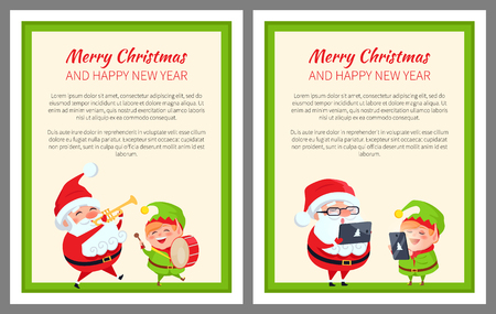 Merry Christmas Happy New Year Two Bright Banners. Illustration