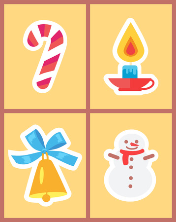 Wintertime holidays icons isolated on light background. Vector illustration with illuminating candle, shiny golden bell with blue bow and lollipop