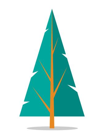 Flat Spruce Icon Isolated on White illustration.