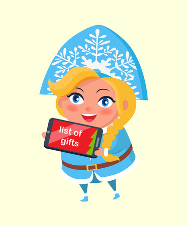 List of gifts in digital tablet, snow maiden taking order on Christmas vector postcard isolated on white background. Russian blonde snegurochka