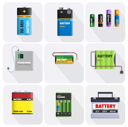 Colorful Charging Devices Illustrations Set.