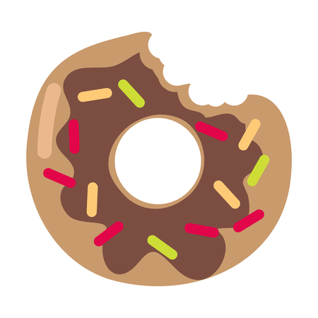 Bitten donut logo isolated on white. Doughnut sticker in flat design. Chocolate doughnut with caramel, jam isolated. Cookies, cake bakery, dessert menu, snack pastry, tasty. Glaze donut shop icon. Vector