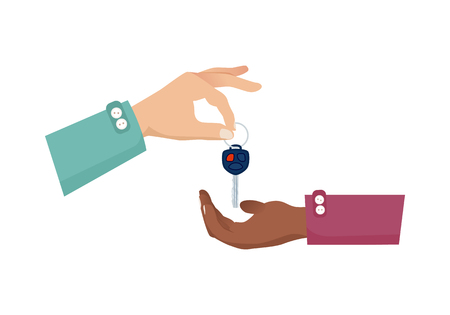 Getting new car key from seller to customer. Business agreement between two rich persons or companies. Hands in green and purple shirts with two buttons on white background vector illustration. Imagens - 92284142