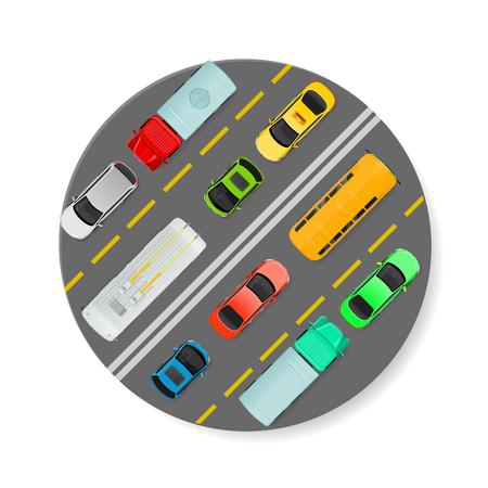 Icona di vettore del traffico cittadino. Le autovetture, il camion, il bus, il filobus vanno sull'illustrazione piana di vettore di vista superiore della strada. Trasporto urbano. Traffico sul concetto di strada cittadina. Per infografiche città, web design