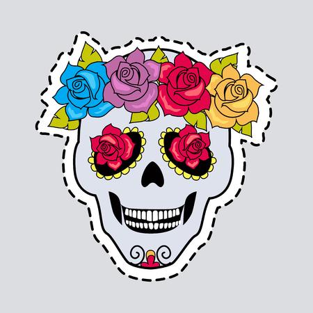 Human Skull and Flower Wreath. Illustration