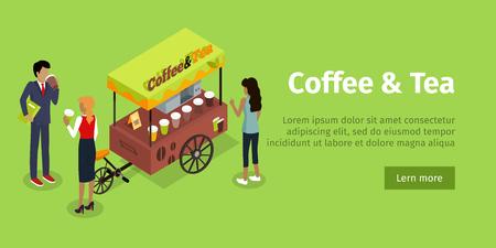 Coffee Tea Concept Isometric Web Banner.