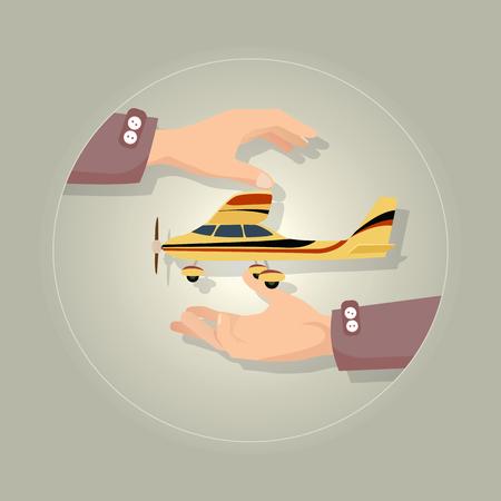 회색 그림에 빠른 현대 노란색 비행기입니다.