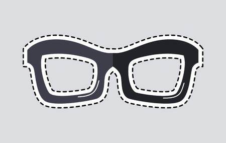 Classic Glasses Icon Patch Isolated Cut Out illustration.