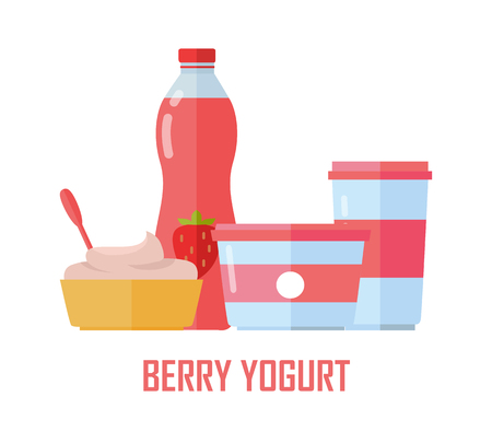 Berry Yogurt, Dairy Products from Milk illustration. Illustration
